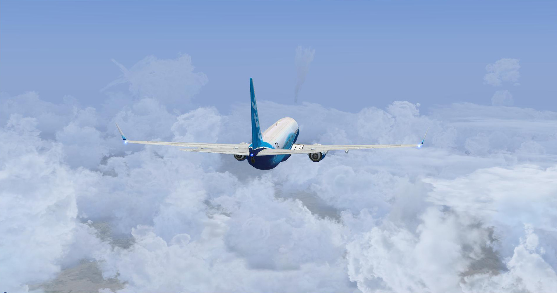 Enroute PHX-LAX. Nice clouds and budding thunderstorms. Default FSX B738.