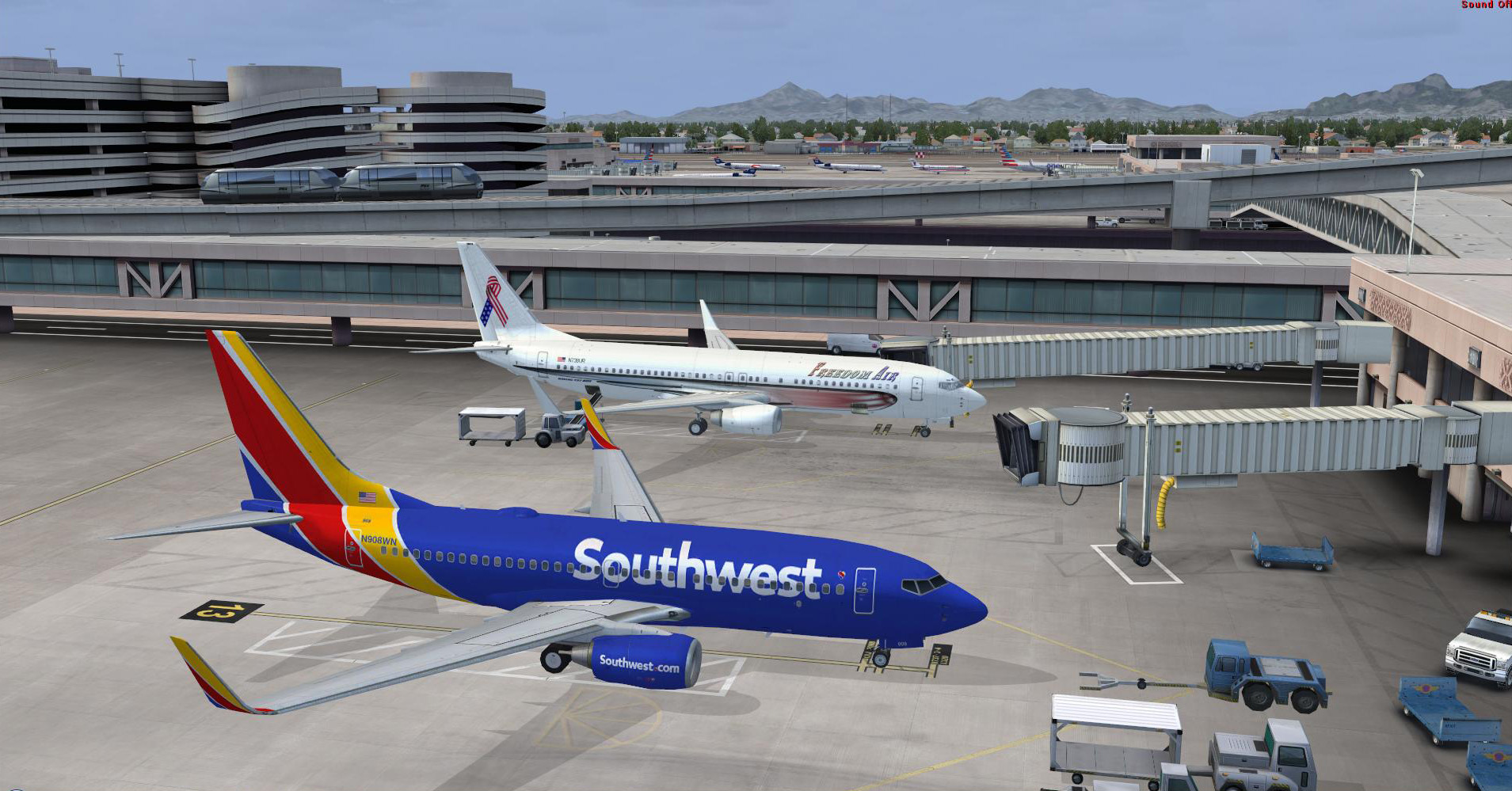 FSX default B738 in FreedomAir livery on ramp PHX