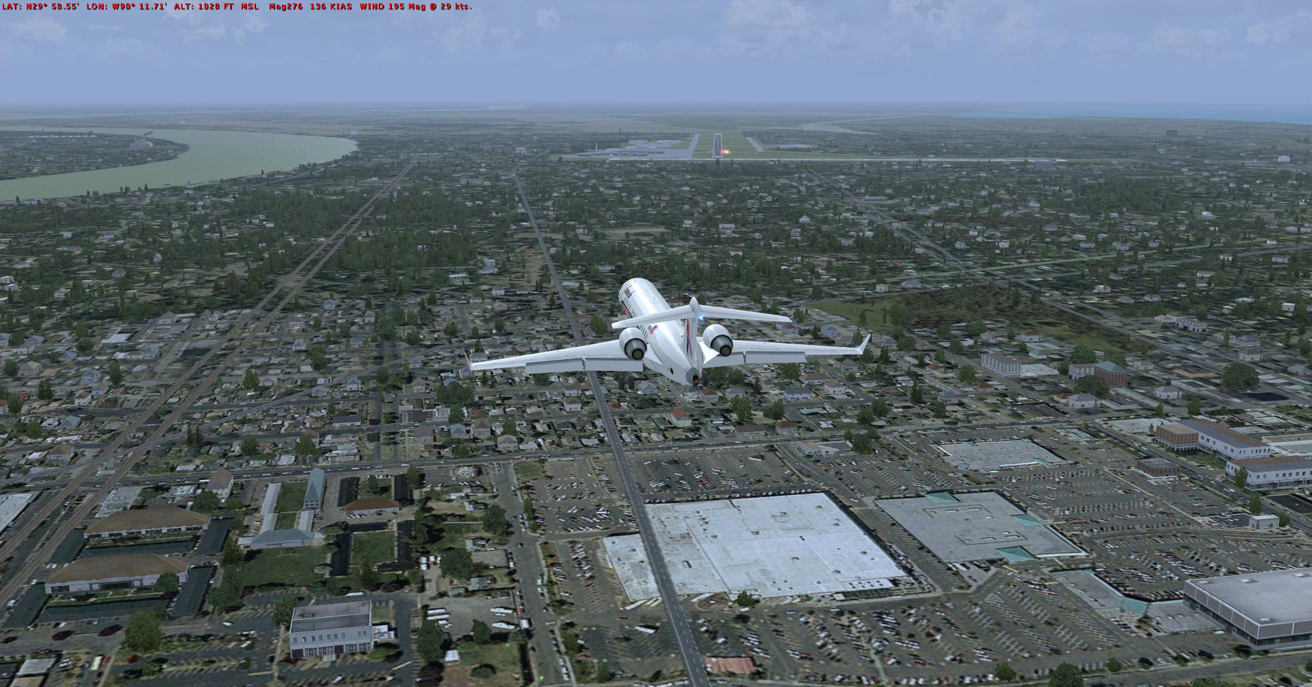 Visual approach runway 29 KMSY as TS Harvey approaches. Left quartering headwind.